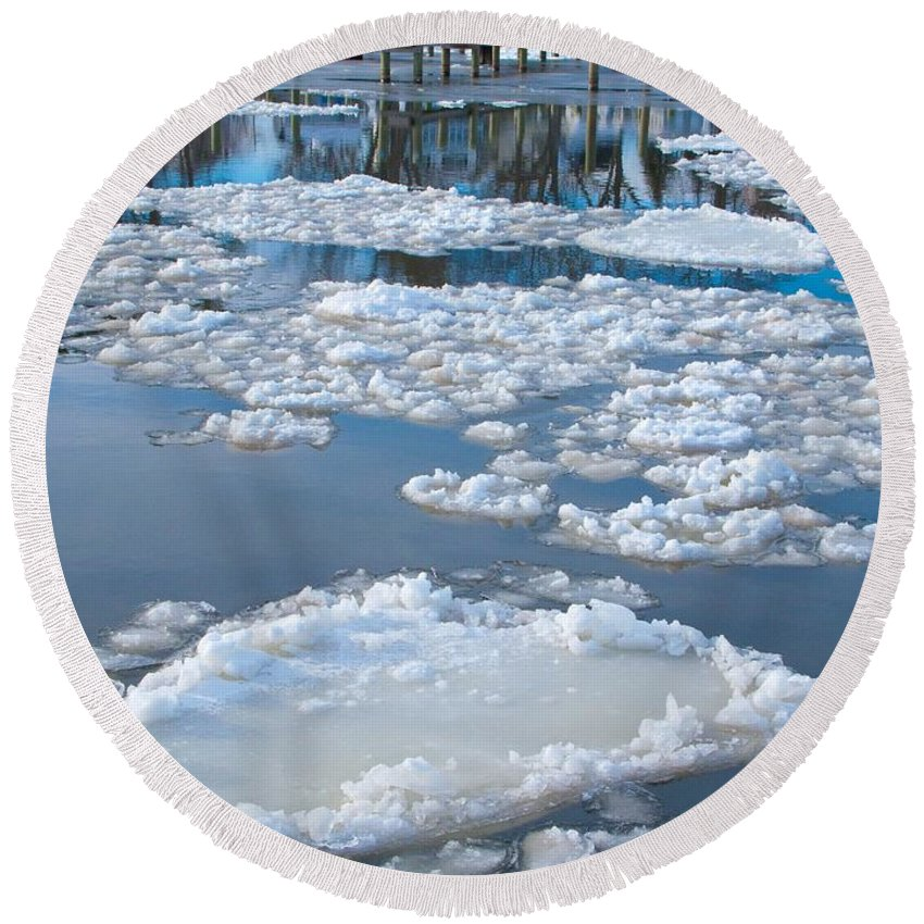 Ice Round Beach Towel featuring the photograph River Ice by Ann Horn