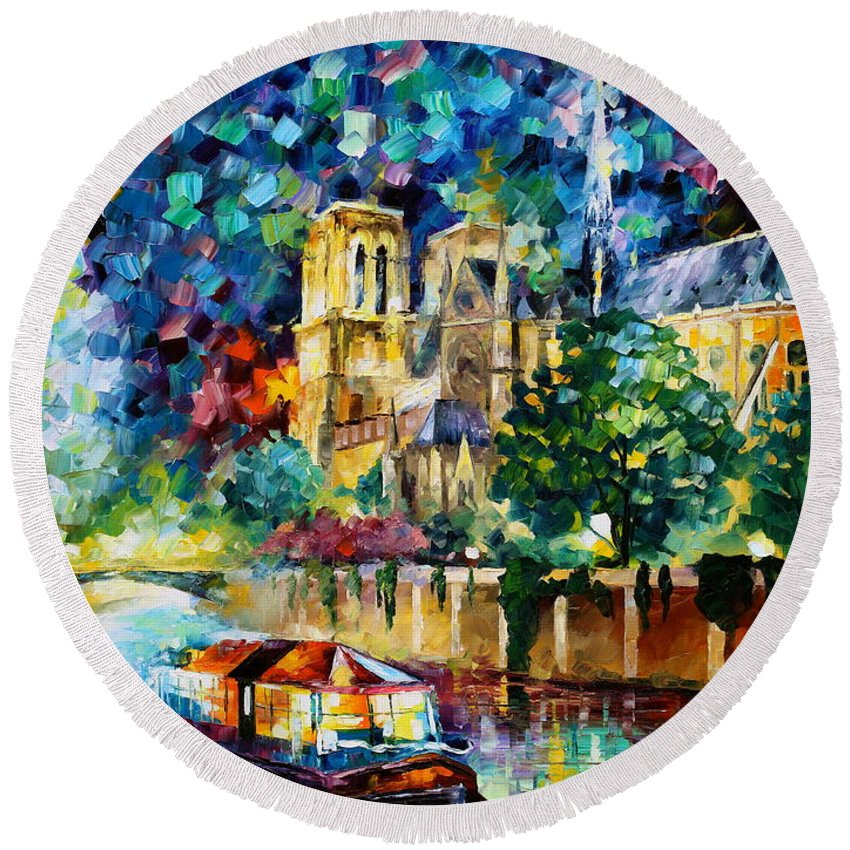 Afremov Round Beach Towel featuring the painting River In Paris by Leonid Afremov