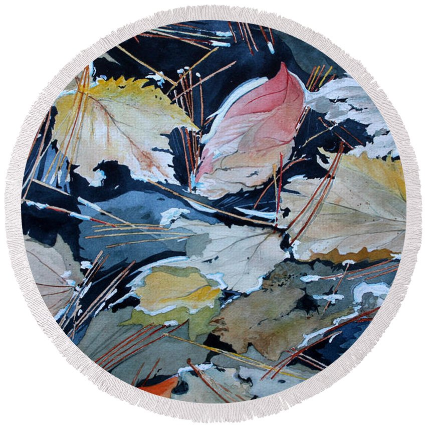 River Round Beach Towel featuring the painting River Leaves by Jim Gerkin