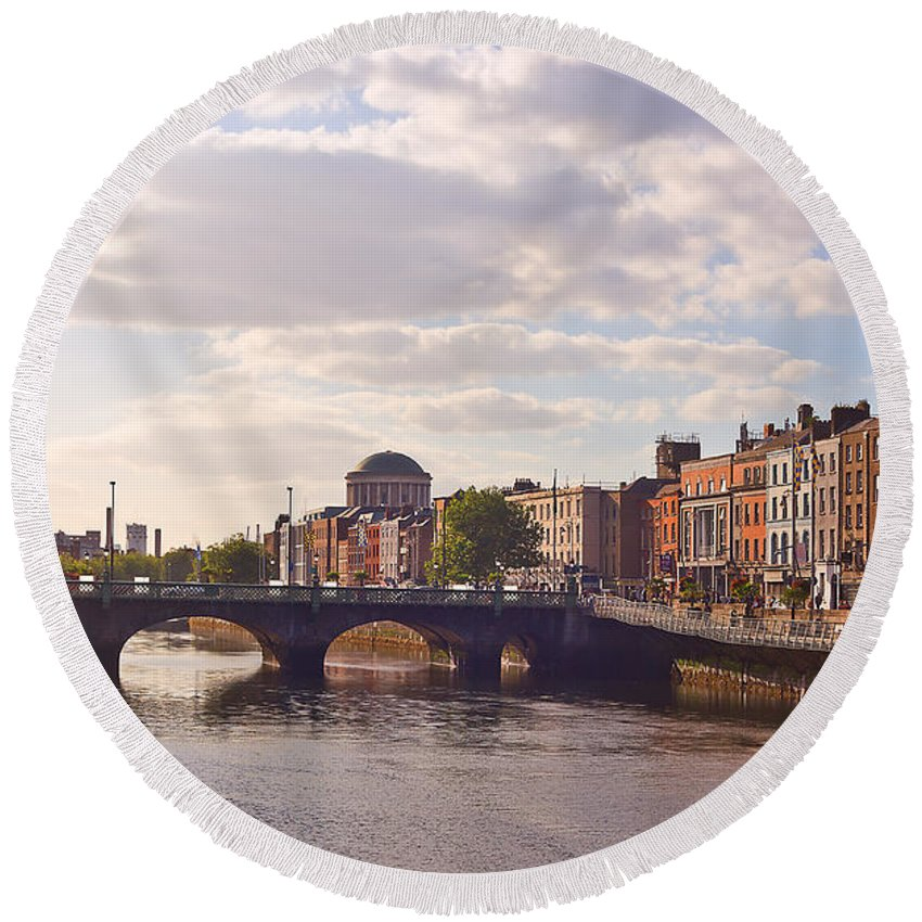 River Liffey Round Beach Towel featuring the photograph River Liffey 2 - Dublin by Alex Art and Photo