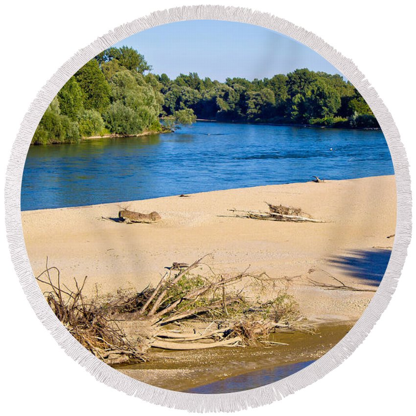 Drava Round Beach Towel featuring the photograph River Of Drava Green Nature by Brch Photography