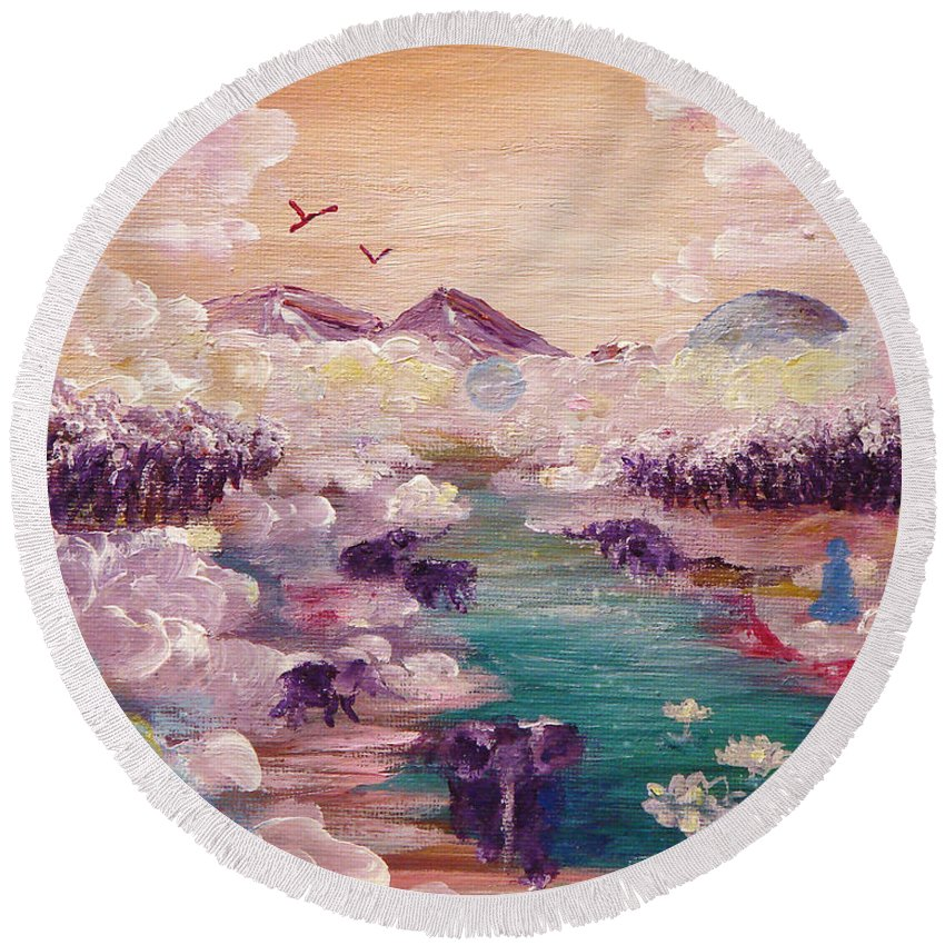Nature Round Beach Towel featuring the painting River Of Light by Ashleigh Dyan Bayer