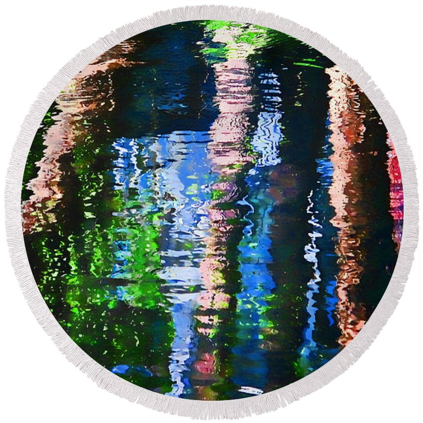 Waterfall Round Beach Towel featuring the photograph River Reflection by Dulce Levitz