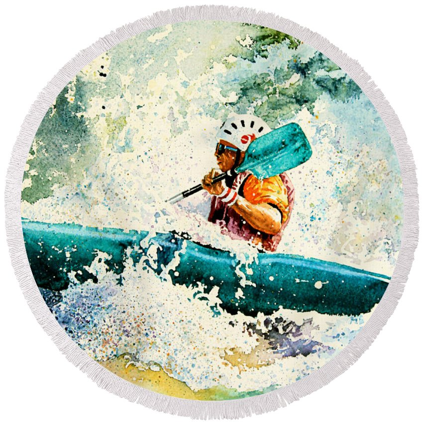 Kayaking Round Beach Towel featuring the painting River Rocket by Hanne Lore Koehler