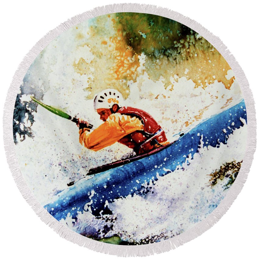Sports Art Round Beach Towel featuring the painting River Rush by Hanne Lore Koehler