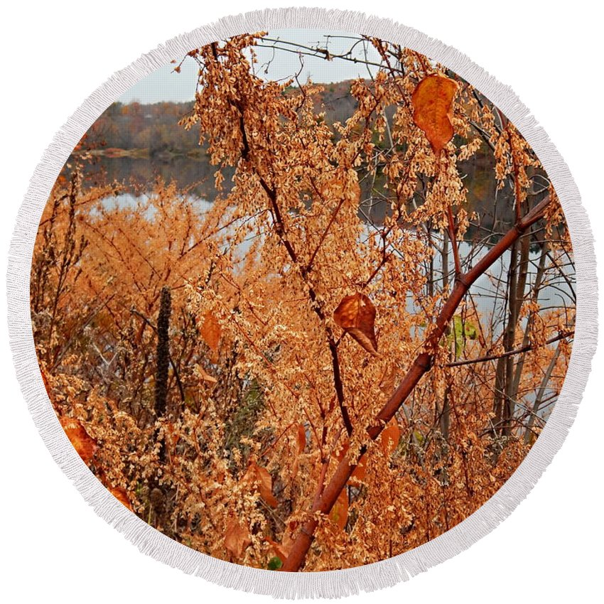 Autumn Foliage On The Kennebec Riverbank Hallowell Maine Round Beach Towel featuring the photograph River Side Foliage Autumn by Expressionistart studio Priscilla Batzell