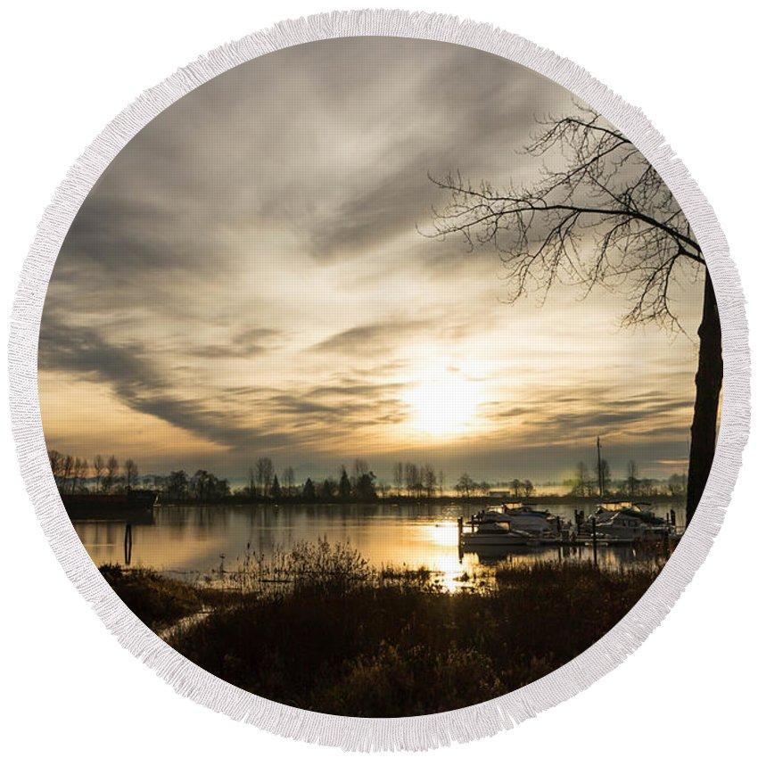 Sunrise Round Beach Towel featuring the photograph River Sunrise by Brigitte Mueller