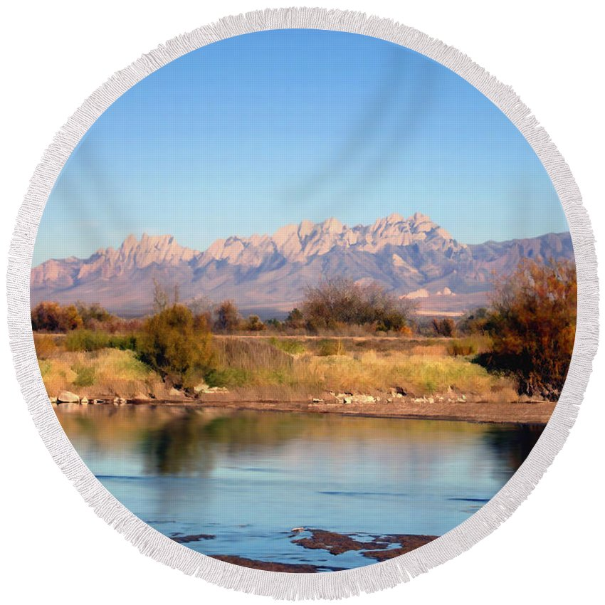 River Round Beach Towel featuring the photograph River View Mesilla by Kurt Van Wagner