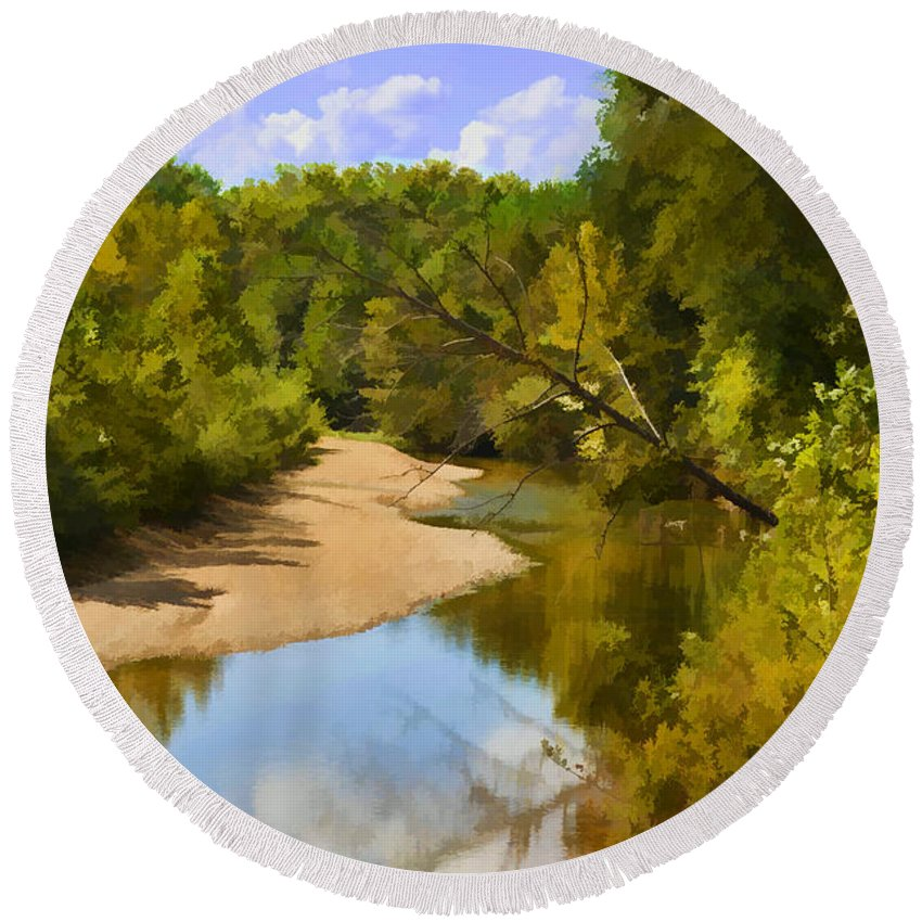 River Round Beach Towel featuring the photograph River View With Reflections - Digital Paint by Debbie Portwood