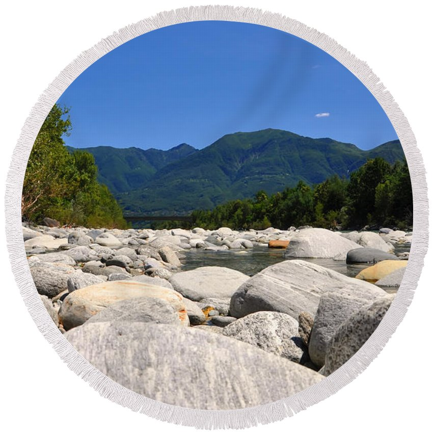 River Round Beach Towel featuring the photograph River With Mountain by Mats Silvan