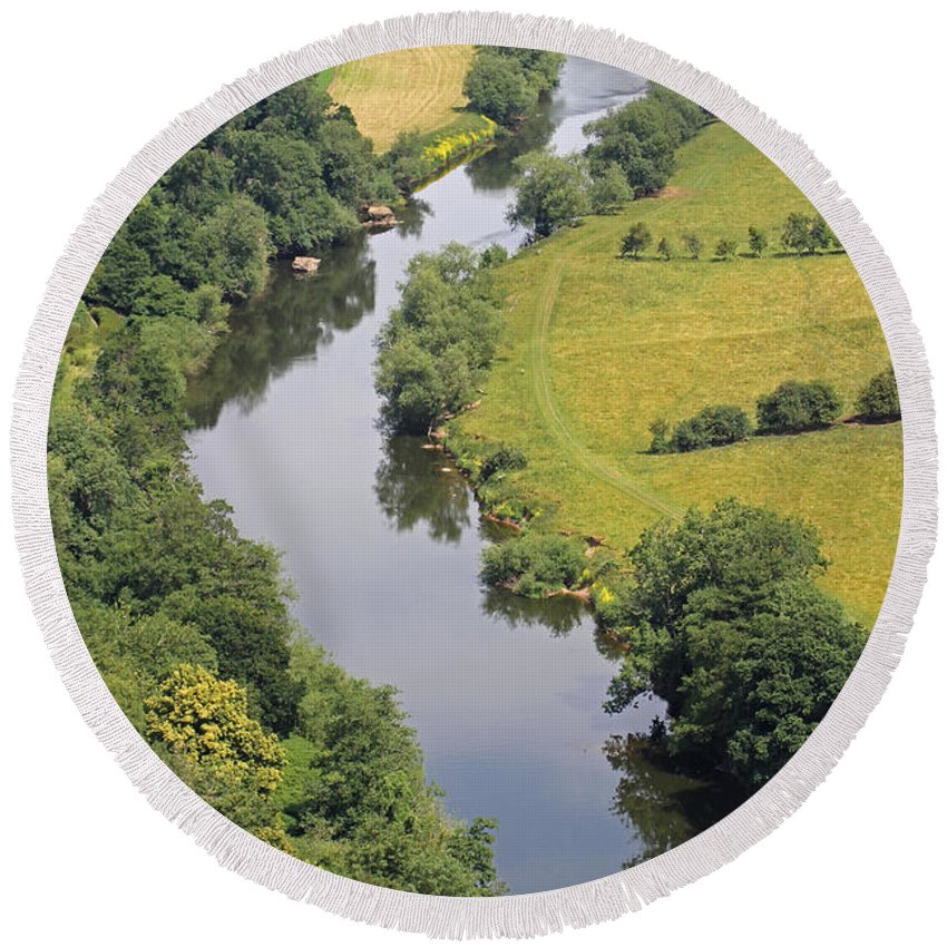 River Wye Round Beach Towel featuring the photograph River Wye by Tony Murtagh
