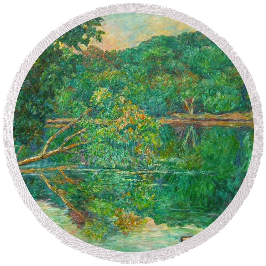 Riverview Park Round Beach Towel featuring the painting Riverview Reflections by Kendall Kessler