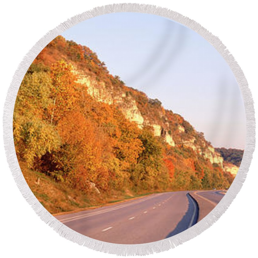 Photography Round Beach Towel featuring the photograph Road Along A River, Great River Road by Panoramic Images