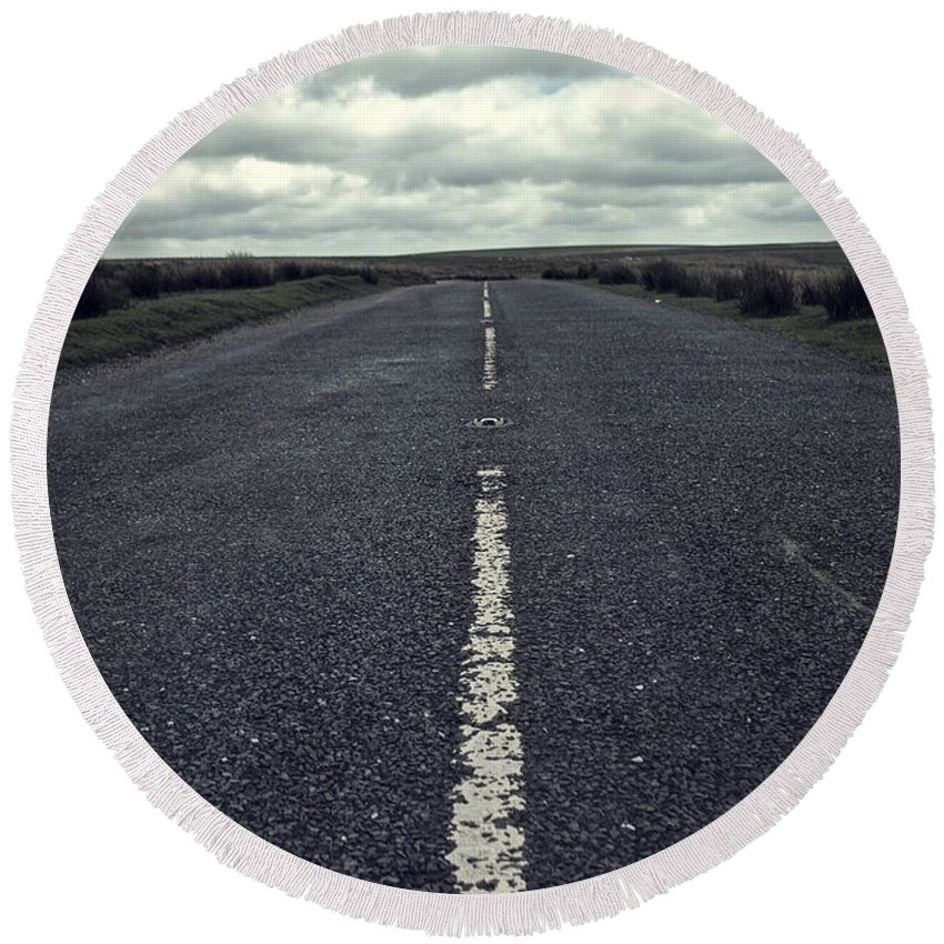 Road Round Beach Towel featuring the photograph Road To The Clouds by Christopher Rees