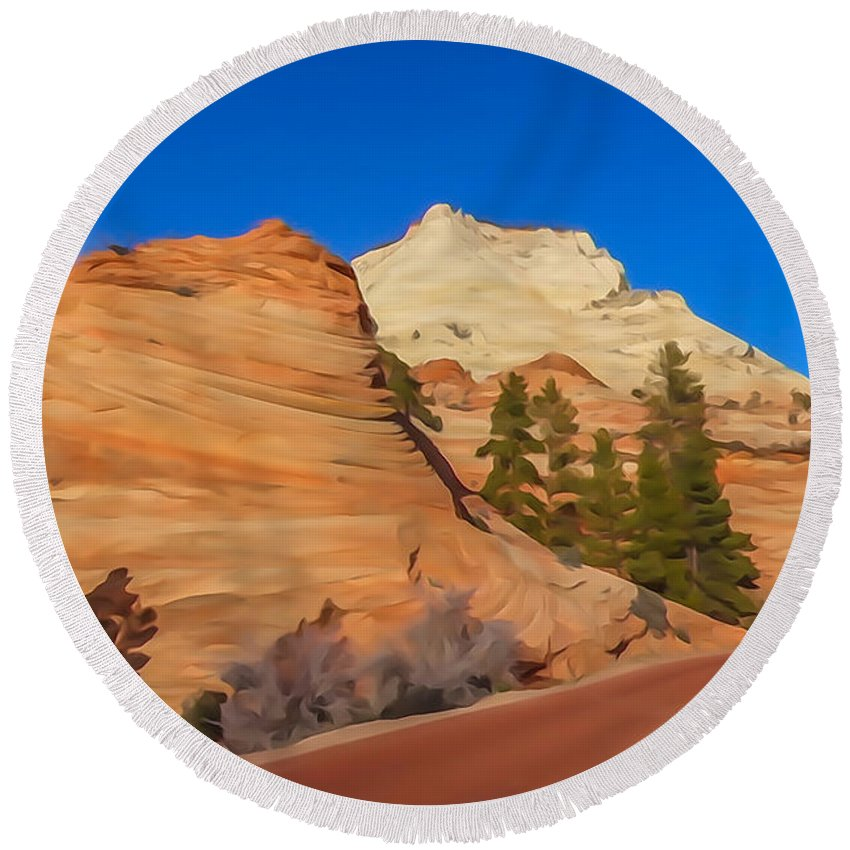 Zion Round Beach Towel featuring the photograph Road Through Zion Np by Tom and Pat Cory