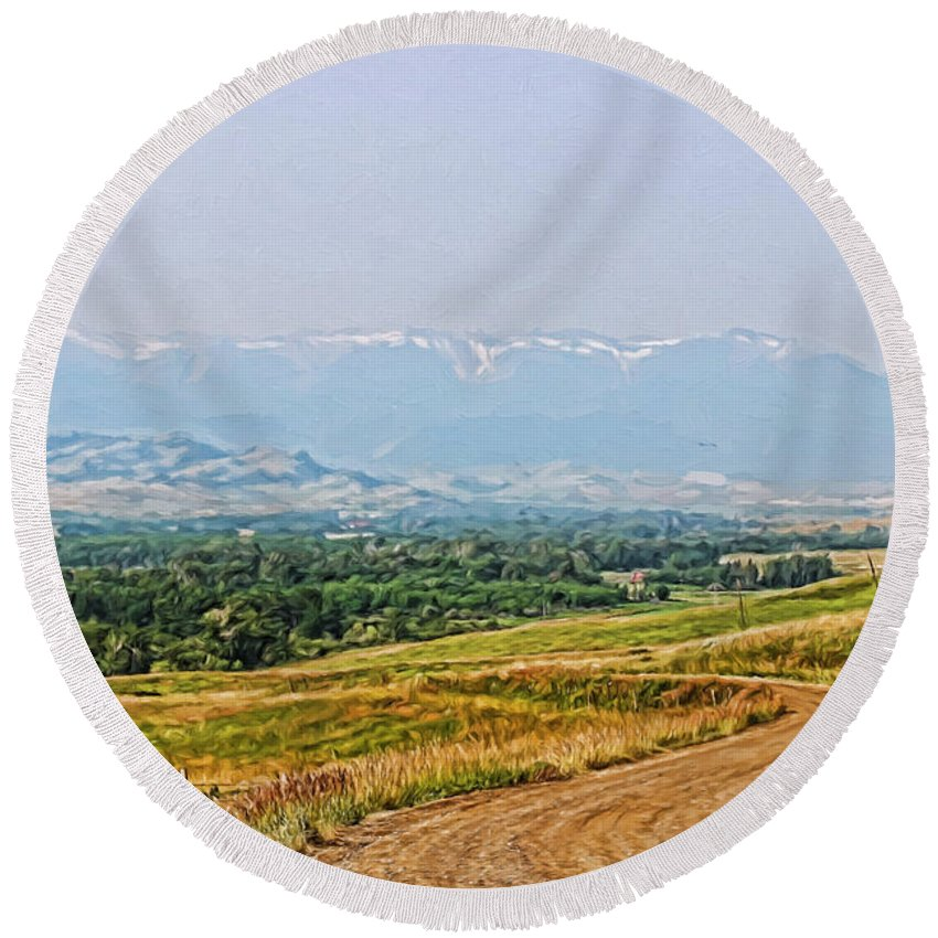 Round Beach Towel featuring the digital art Road To The Mountains by Cathy Anderson