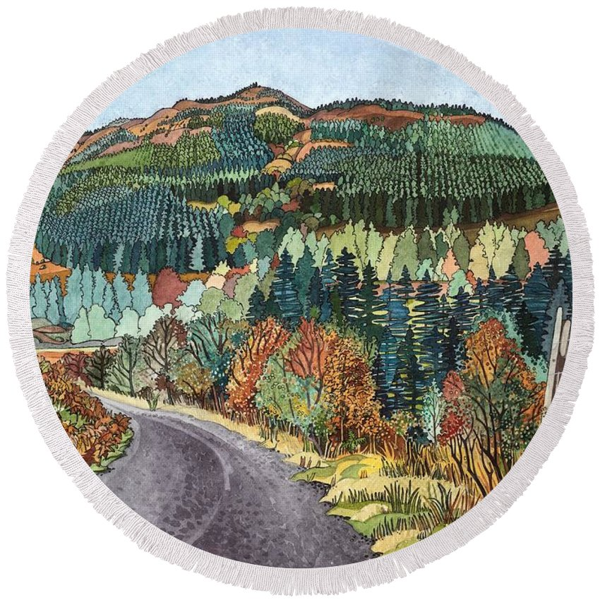 Landscape Round Beach Towel featuring the photograph Road To Torloisk, 2008 Wc And Ink by Anna Teasdale
