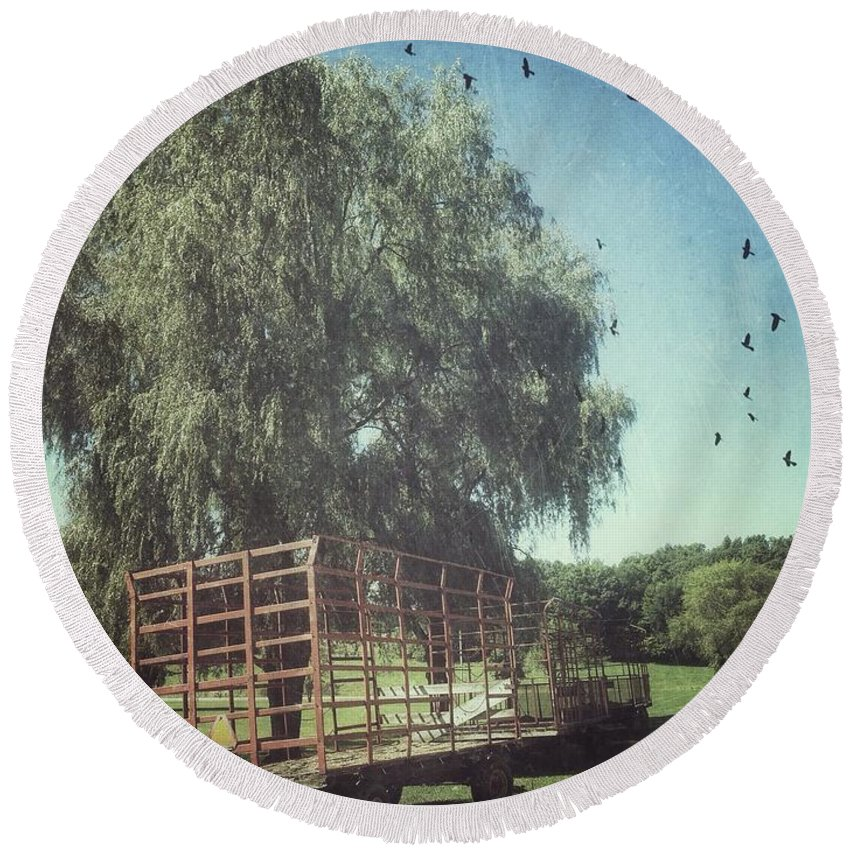 Vermont Round Beach Towel featuring the photograph Morgan Horse Farm Vermont Farm Birds by Andy Gimino