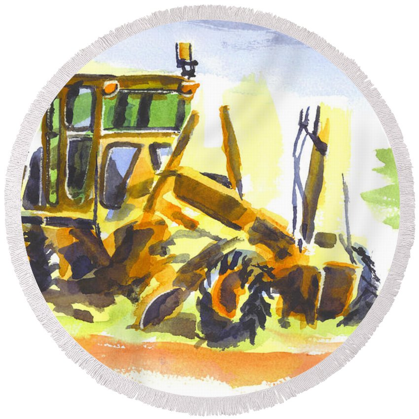 Roadmaster Tractor In Watercolor Round Beach Towel featuring the painting Roadmaster Tractor In Watercolor by Kip DeVore