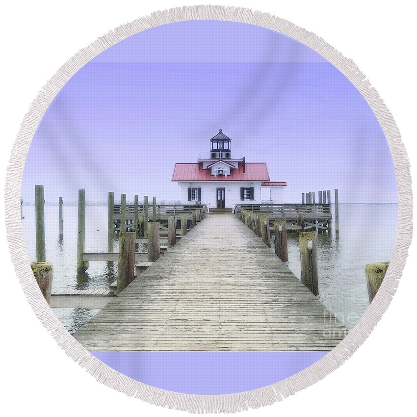 Light Round Beach Towel featuring the photograph Roanoke Marshes Light by Lydia Holly