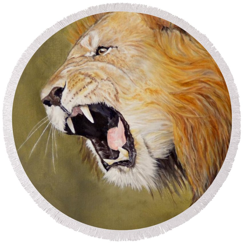 Africa Round Beach Towel featuring the painting Roar by Barry BLAKE