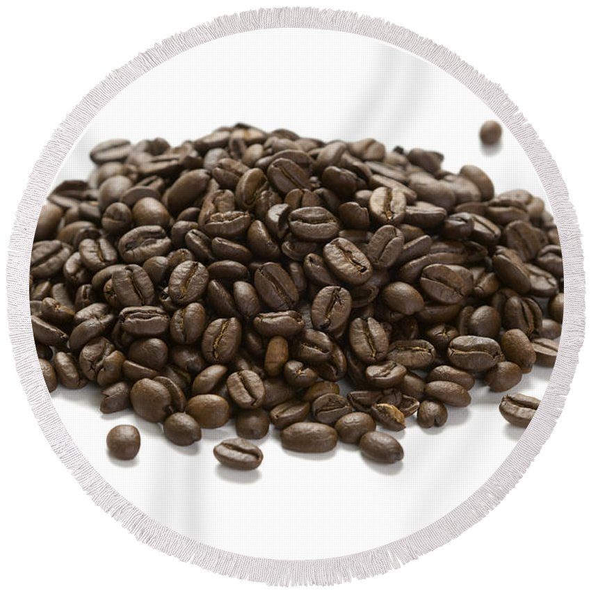 Background Round Beach Towel featuring the photograph Roasted Coffee Beans by Lee Avison