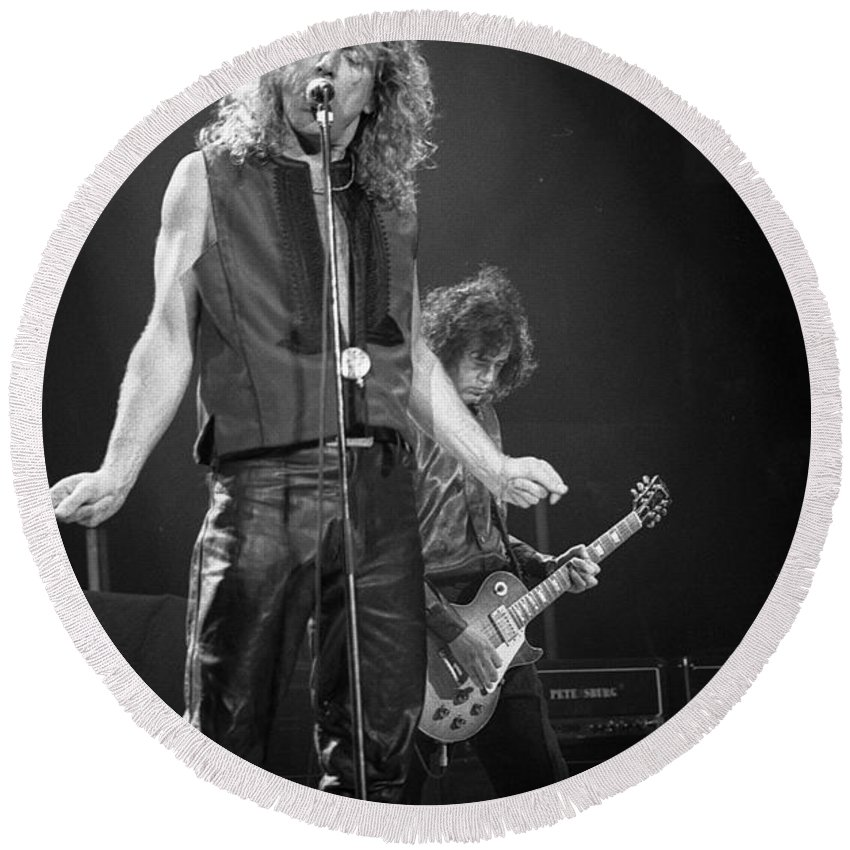 Robert Plant Round Beach Towel featuring the photograph Robert Plant And Jimmy Page by Timothy Bischoff