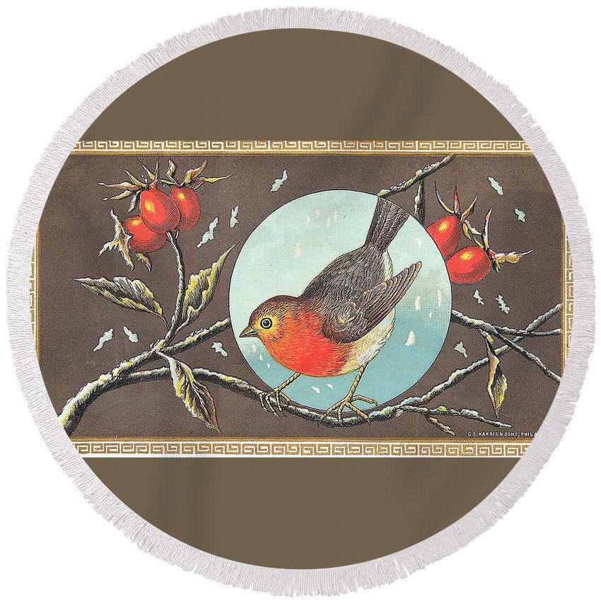 Label Art Round Beach Towel featuring the digital art Robin Cigar Label by Label Art