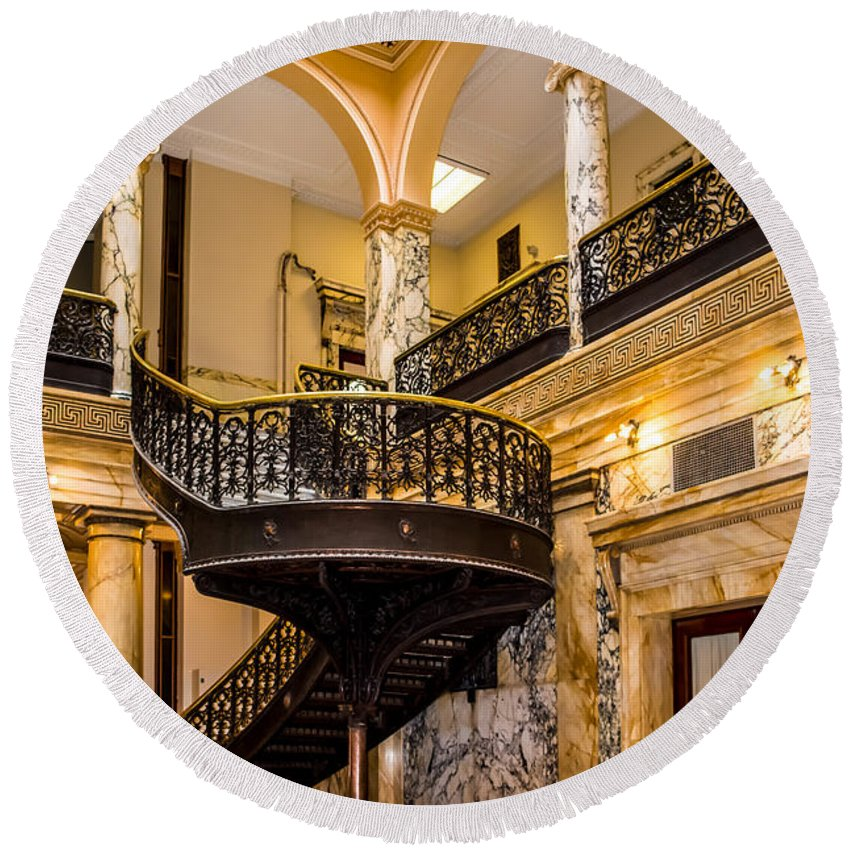 Spiral Round Beach Towel featuring the photograph Rochester City Hall Stairs by Ray Sheley