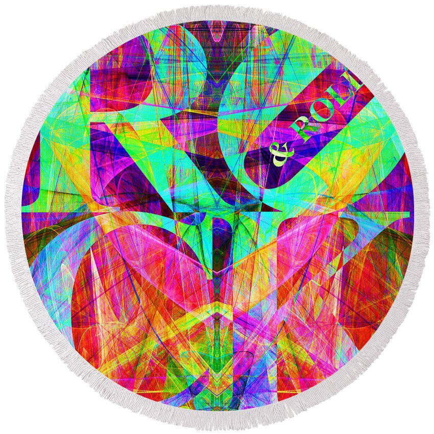 Abstract Round Beach Towel featuring the digital art Rock And Roll 20130708 Fractal by Wingsdomain Art and Photography