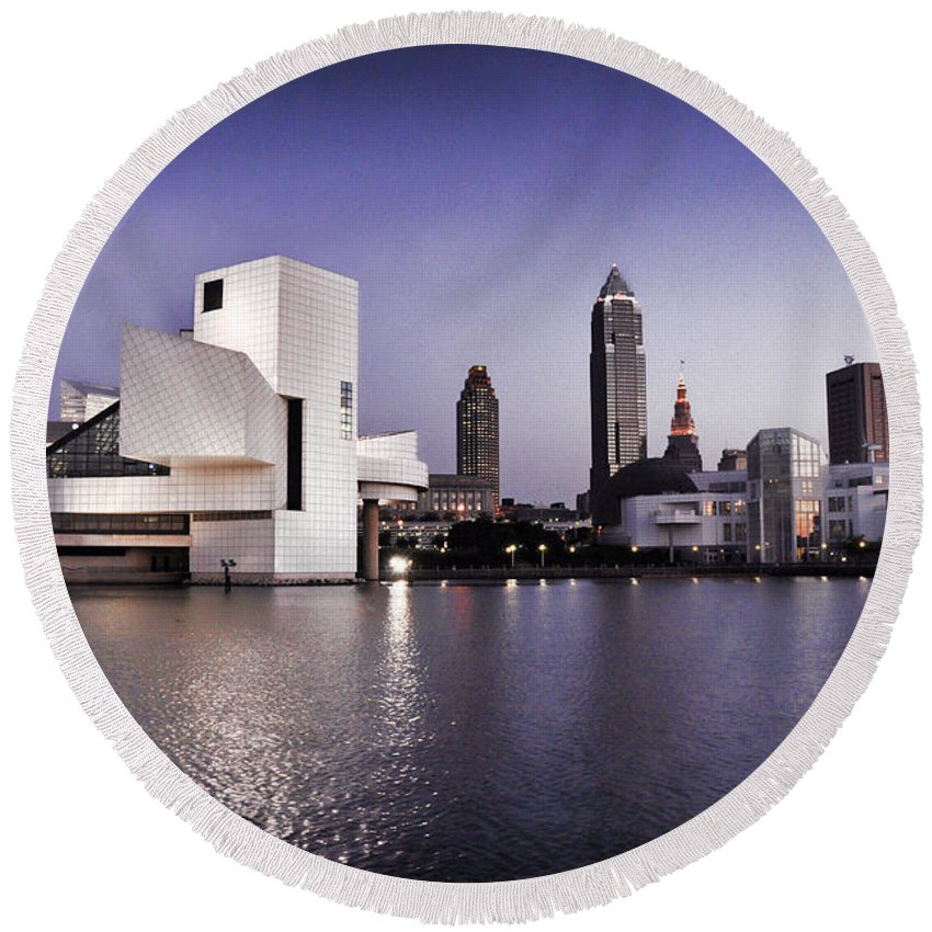 Rock N Roll Round Beach Towel featuring the photograph Rock And Roll Hall Of Fame - Cleveland Ohio - 2 by Mark Madere