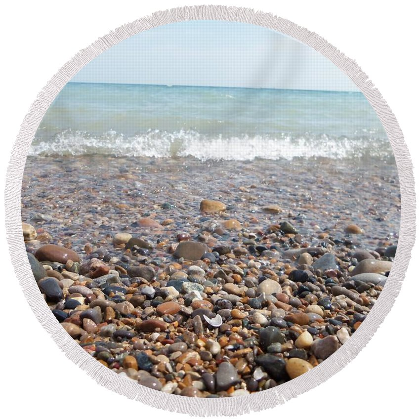Port Huron Round Beach Towel featuring the photograph Rock Collector by Two Bridges North