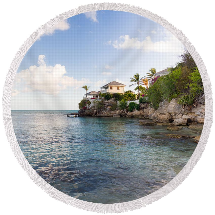 Antigua And Barbuda Round Beach Towel featuring the photograph Rock Cottage by Ferry Zievinger