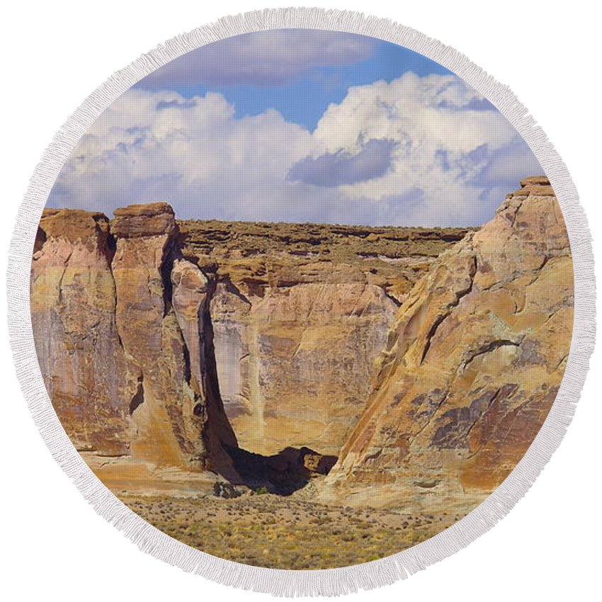 Views Round Beach Towel featuring the photograph Rock Formations At Capital Reef by Jeff Swan