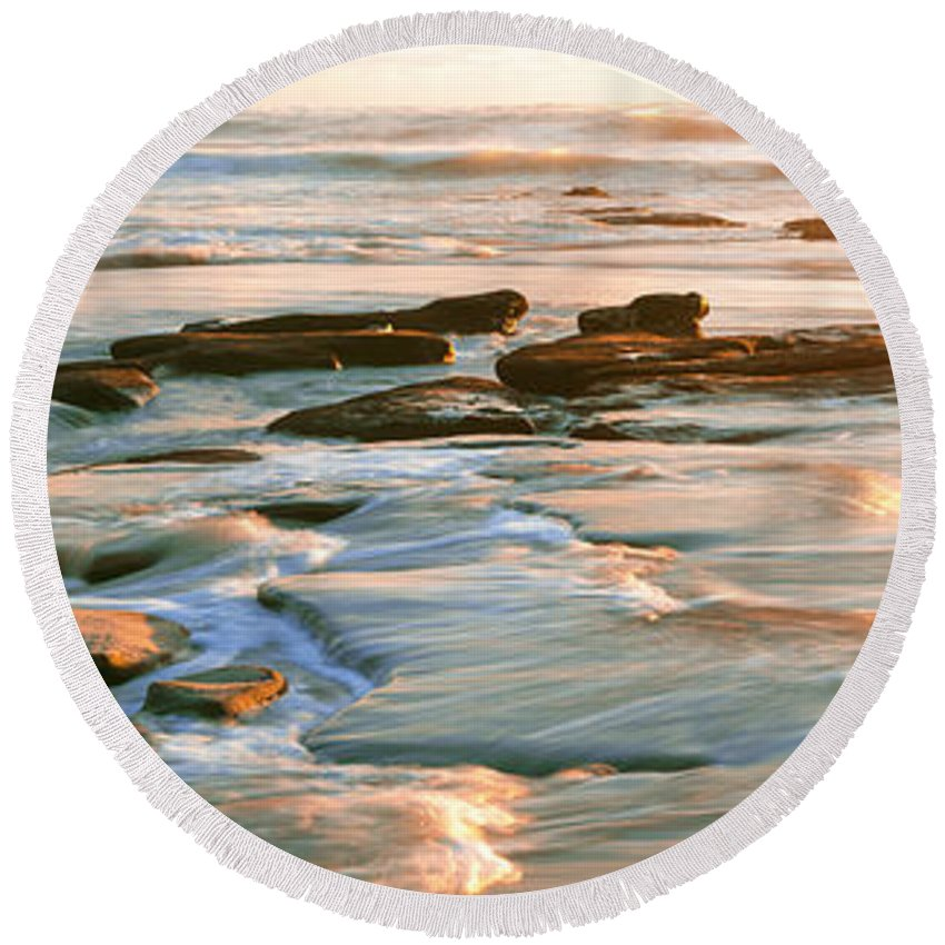 Photography Round Beach Towel featuring the photograph Rock Formations At Windansea Beach, La by Panoramic Images