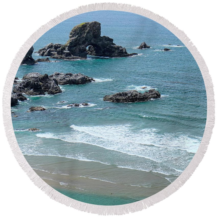 Dale Kauzlaric Round Beach Towel featuring the photograph Rock Formations by Dale Kauzlaric