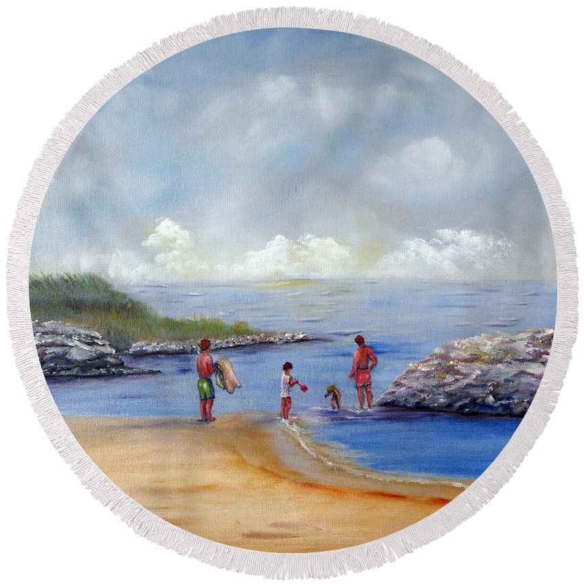 Rock Hall Round Beach Towel featuring the painting Rock Hall Beach by Loretta Luglio