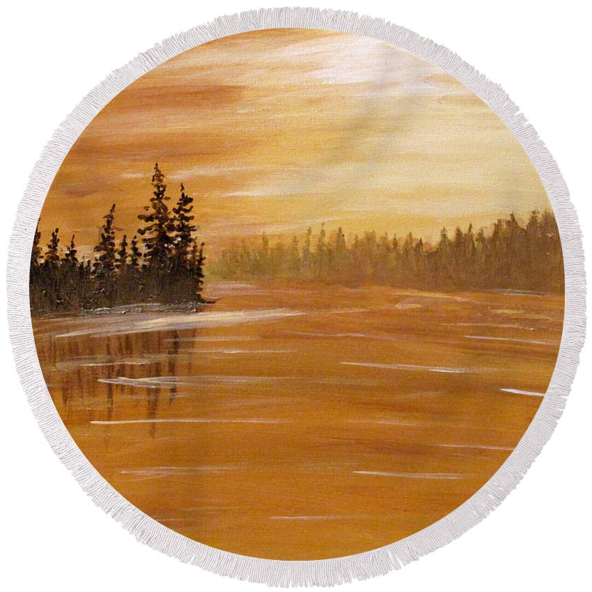 Northern Ontario Round Beach Towel featuring the painting Rock Lake Morning 1 by Ian MacDonald
