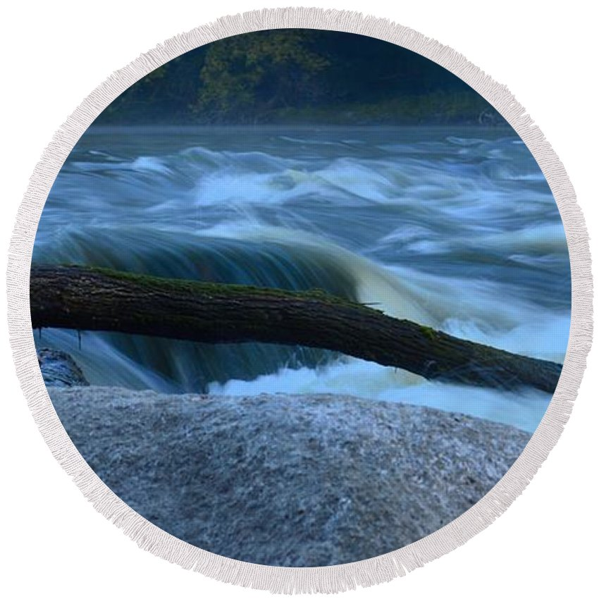 Rapids Round Beach Towel featuring the photograph Rock Rapids Two by Bonfire Photography