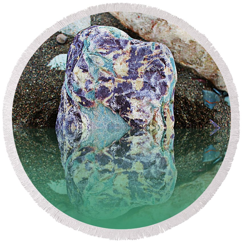 Rock Reflections Round Beach Towel featuring the photograph Rock Reflections - Water - Beach by Barbara Griffin