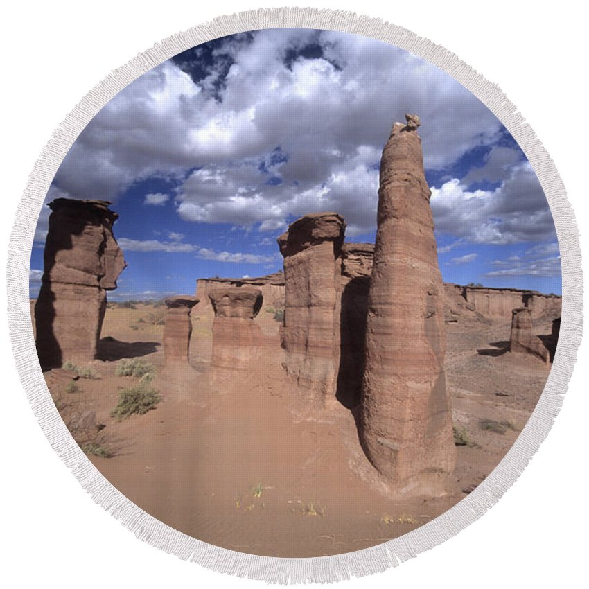 Argentina Round Beach Towel featuring the photograph Rock Sentinels In Talampaya National Park by James Brunker