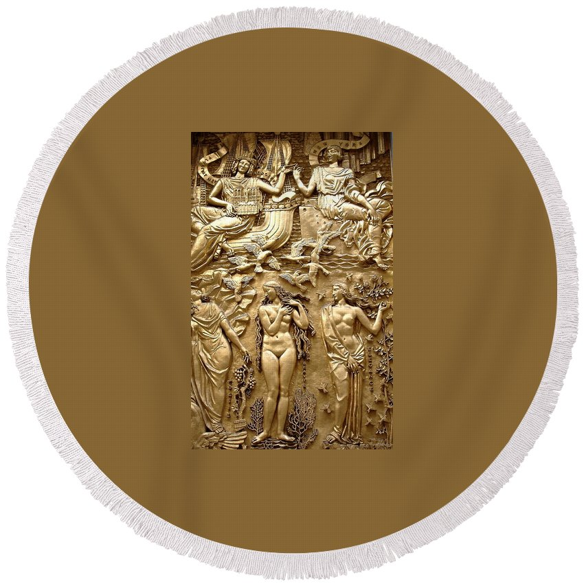 Gilded Bronze Round Beach Towel featuring the photograph Rockefeller Art Deco by Gerry High