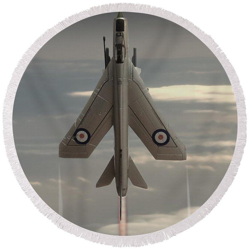 Bac Lightning F6 Round Beach Towel featuring the digital art Rocket Ship by J Biggadike