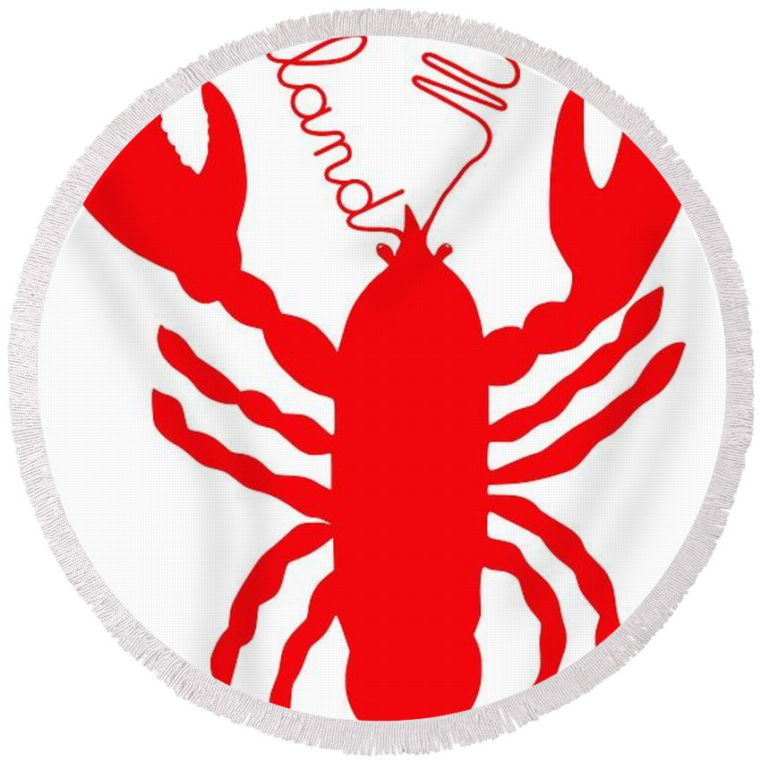 Rockland Maine Lobster With Feelers Round Beach Towel featuring the digital art Rockland Maine Lobster With Feelers 20130605 by Julie Knapp