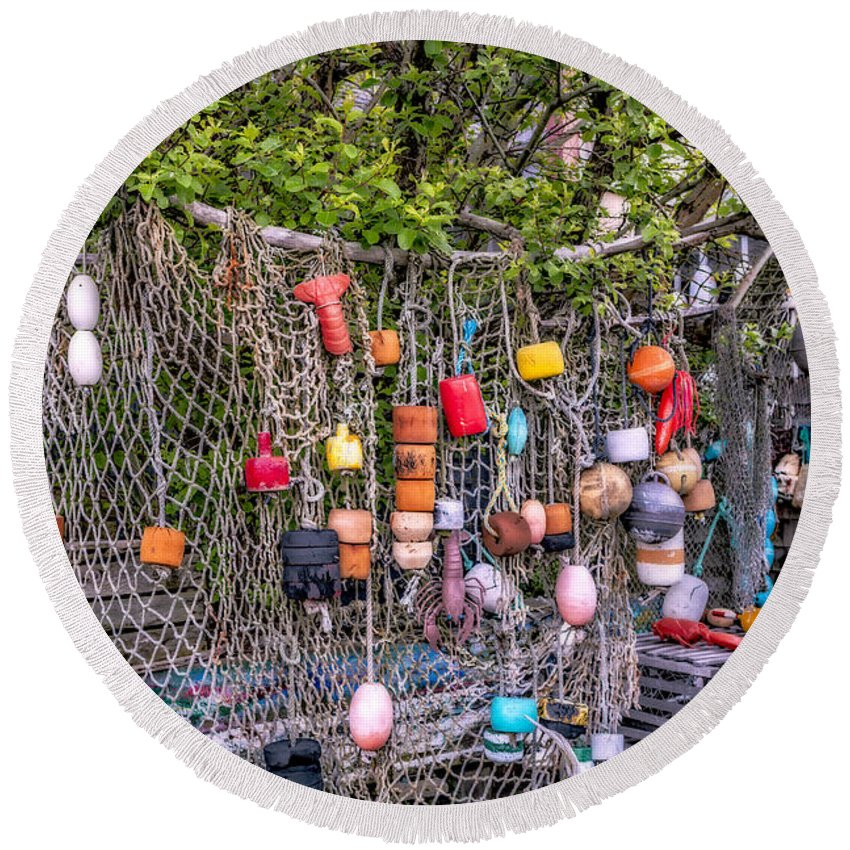 Bradley Wharf Round Beach Towel featuring the photograph Rockport Fishing Net And Buoys by Susan Candelario