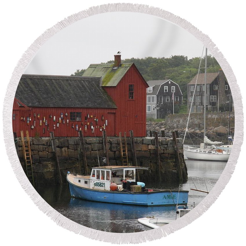 Harbor Round Beach Towel featuring the photograph Rockport Inner Harbor With Lobster Fleet And Motif No.1 by Christiane Schulze Art And Photography