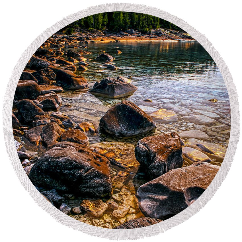Bay Round Beach Towel featuring the photograph Rocks At Shore Of Georgian Bay by Elena Elisseeva