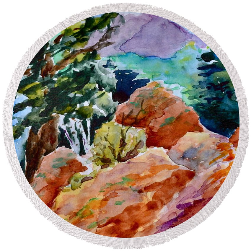 Landscape Round Beach Towel featuring the painting Rocks Near Red Feather by Beverley Harper Tinsley