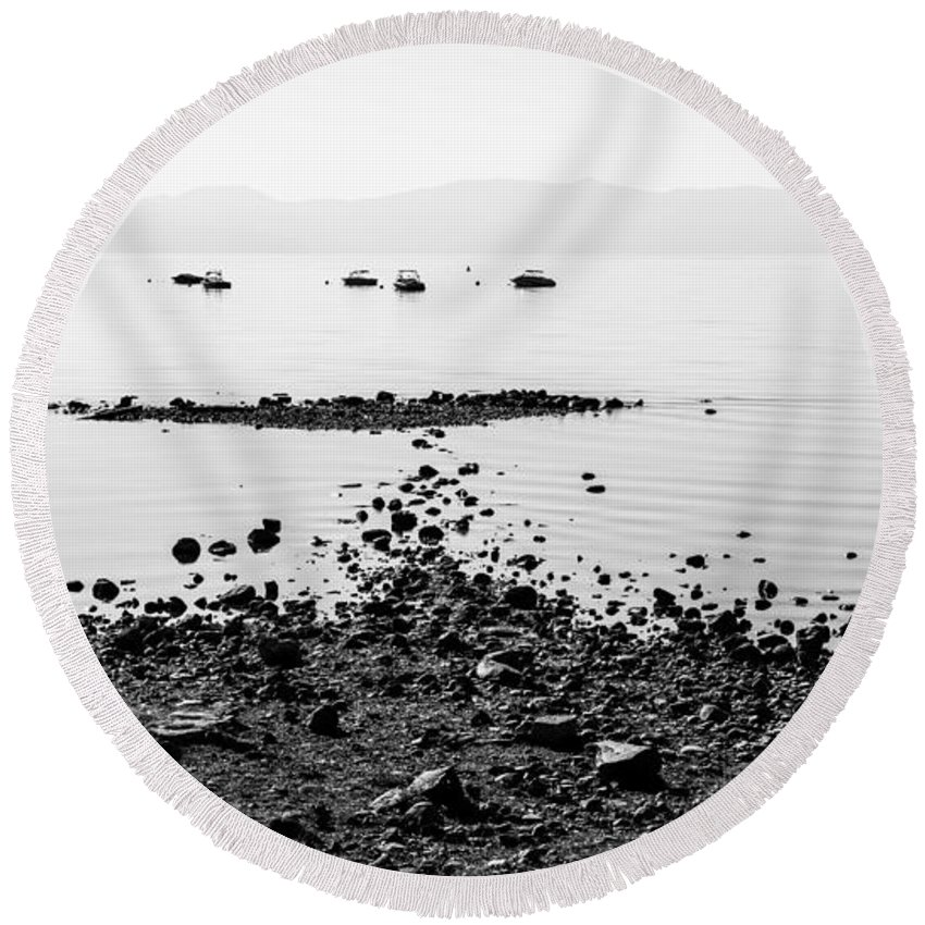 Rocky Beach Round Beach Towel featuring the photograph Rocky Beach by Chad Dutson