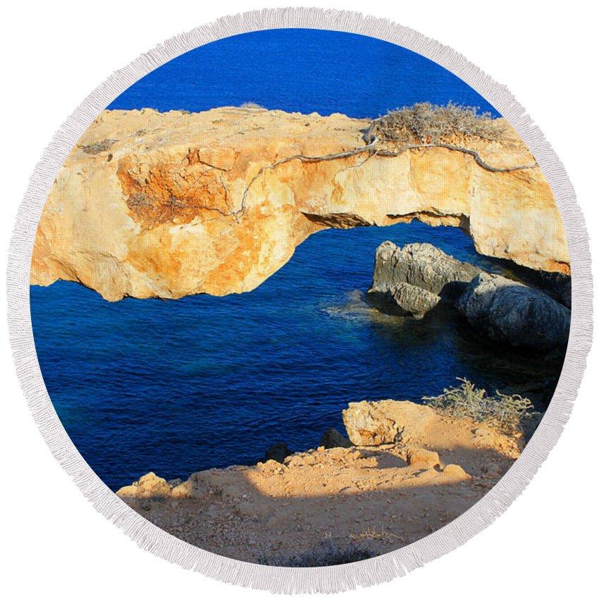 Beautiful Landscape Round Beach Towel featuring the photograph Rocky Bridge by Augusta Stylianou